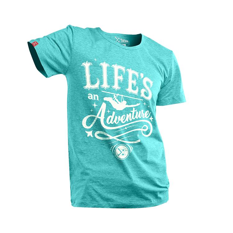 3502663774c23 Payera verde agua para hombre con diseño al frente y frase Life´s an  Adventure